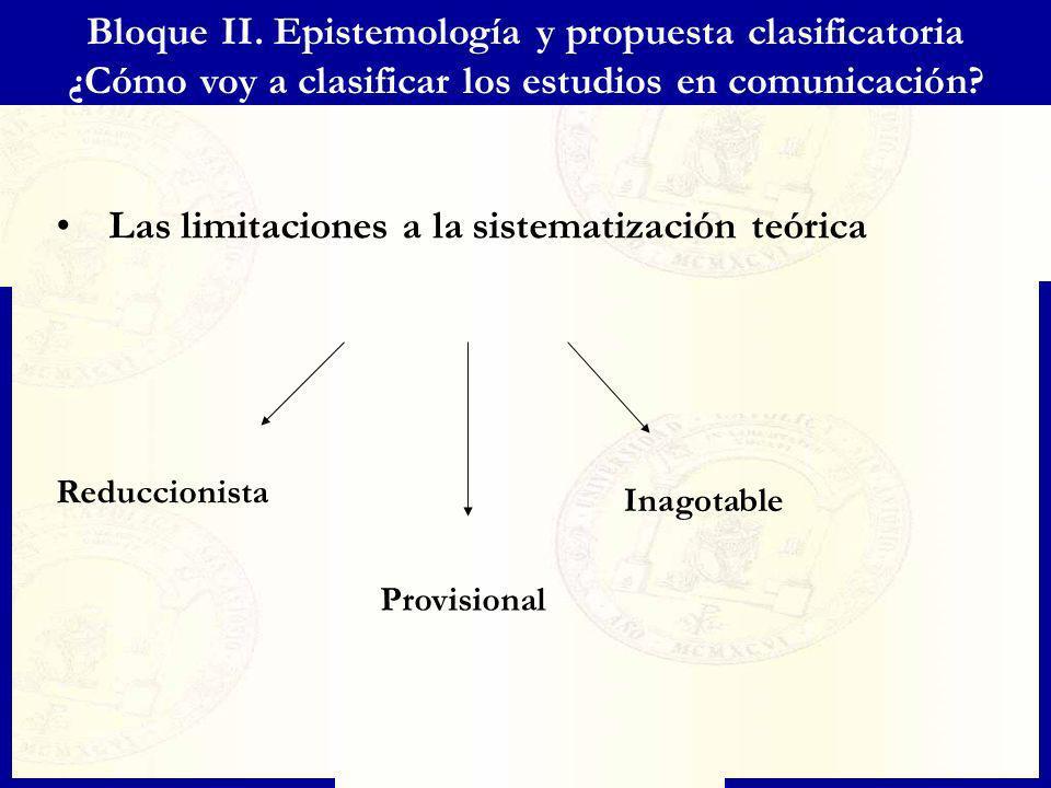 Bloque II. Epistemología y propuesta clasificatoria ¿Cómo voy a clasificar los estudios en comunicación? Las limitaciones a la sistematización teórica