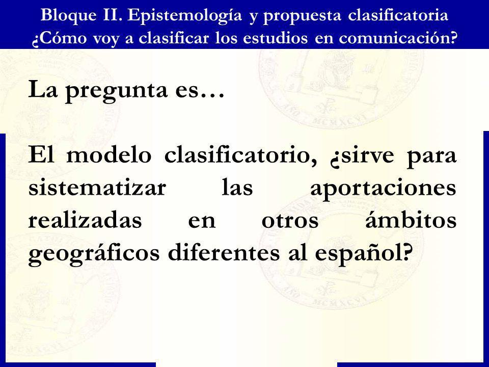 Bloque II. Epistemología y propuesta clasificatoria ¿Cómo voy a clasificar los estudios en comunicación? La pregunta es… El modelo clasificatorio, ¿si