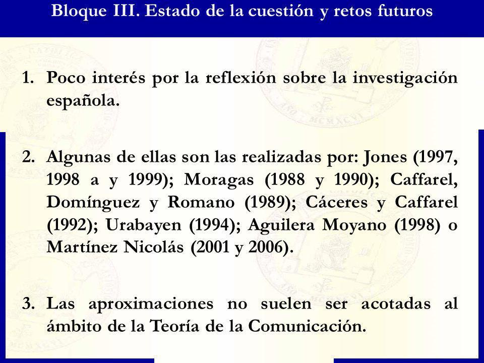 Bloque III. Estado de la cuestión y retos futuros 1.Poco interés por la reflexión sobre la investigación española. 2.Algunas de ellas son las realizad