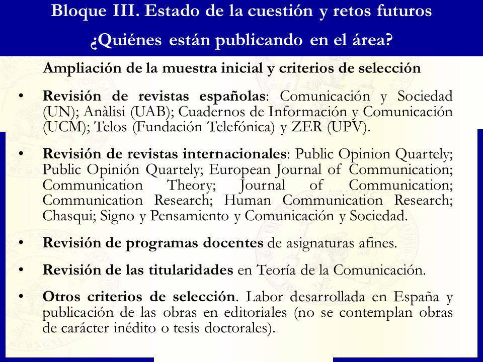 Bloque III. Estado de la cuestión y retos futuros ¿Quiénes están publicando en el área? Ampliación de la muestra inicial y criterios de selección Revi