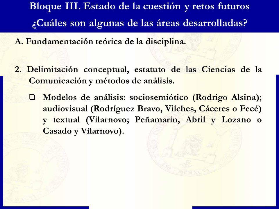 Bloque III. Estado de la cuestión y retos futuros ¿Cuáles son algunas de las áreas desarrolladas? A. Fundamentación teórica de la disciplina. 2. Delim