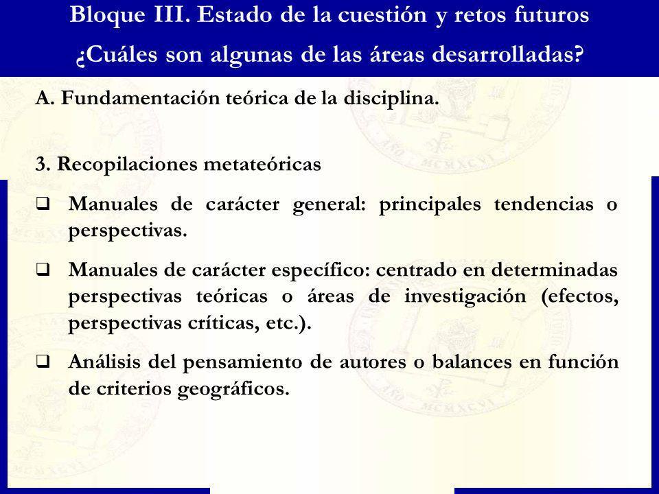 Bloque III. Estado de la cuestión y retos futuros ¿Cuáles son algunas de las áreas desarrolladas? A. Fundamentación teórica de la disciplina. 3. Recop