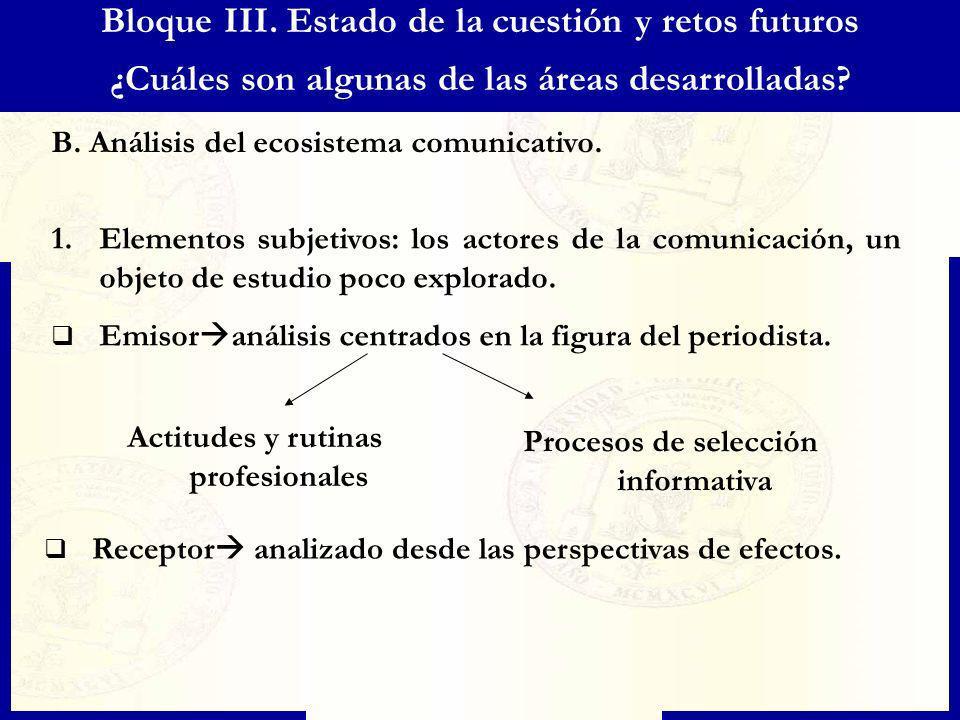 Bloque III. Estado de la cuestión y retos futuros ¿Cuáles son algunas de las áreas desarrolladas? B. Análisis del ecosistema comunicativo. 1.Elementos