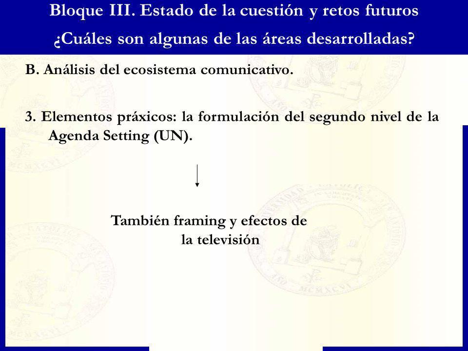 Bloque III. Estado de la cuestión y retos futuros ¿Cuáles son algunas de las áreas desarrolladas? B. Análisis del ecosistema comunicativo. 3. Elemento