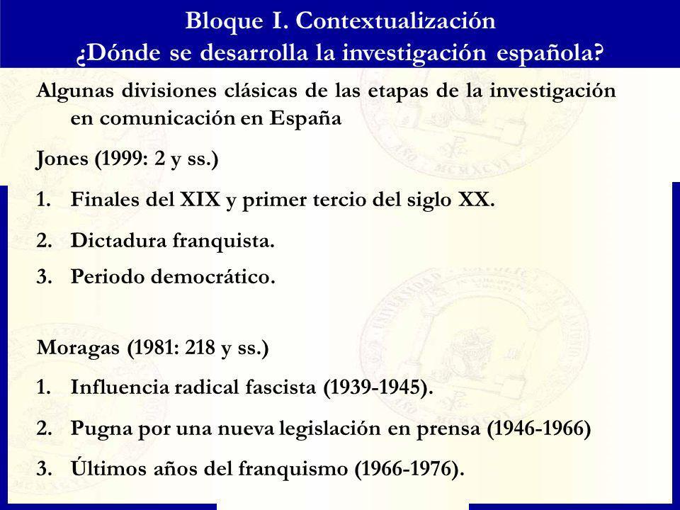 Bloque I. Contextualización ¿Dónde se desarrolla la investigación española? Algunas divisiones clásicas de las etapas de la investigación en comunicac