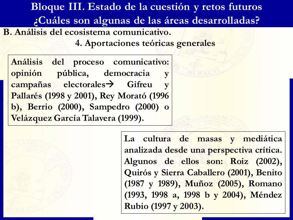 Bloque III. Estado de la cuestión y retos futuros ¿Cuáles son algunas de las áreas desarrolladas? B. Análisis del ecosistema comunicativo. 4. Aportaci