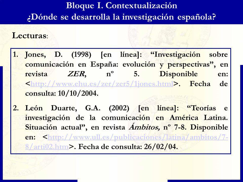 Bloque I. Contextualización ¿Dónde se desarrolla la investigación española? 1.Jones, D. (1998) [en línea]: Investigación sobre comunicación en España: