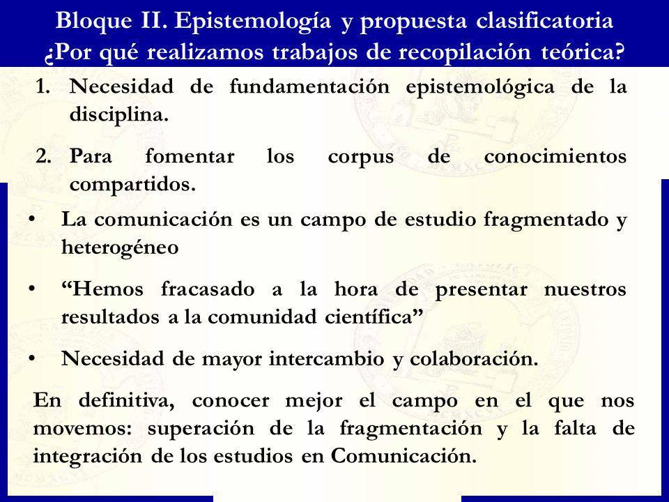 Bloque II. Epistemología y propuesta clasificatoria ¿Por qué realizamos trabajos de recopilación teórica? 1.Necesidad de fundamentación epistemológica
