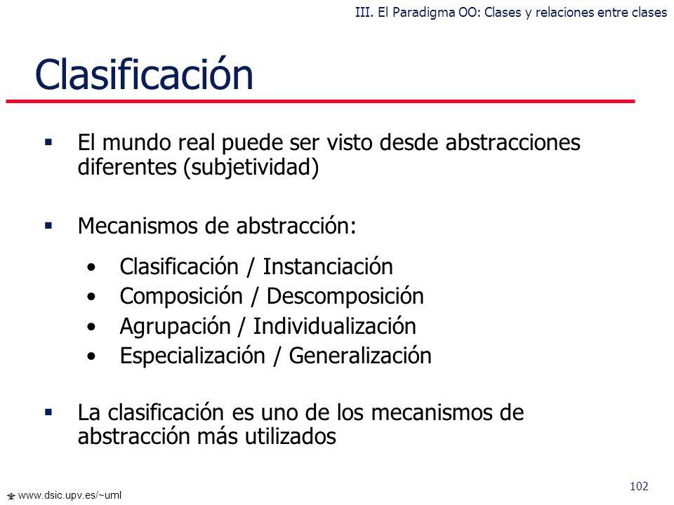 101 www.dsic.upv.es/~uml Clases y relaciones entre clases