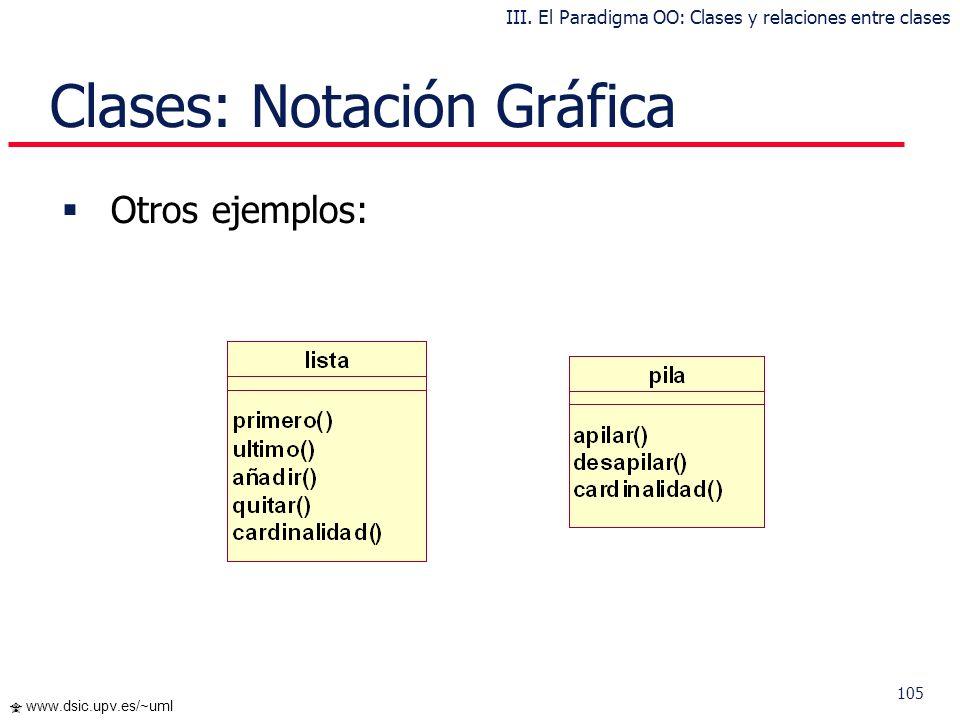 104 www.dsic.upv.es/~uml Clases: Notación Gráfica Cada clase se representa en un rectángulo con tres compartimientos: nombre de la clase atributos de