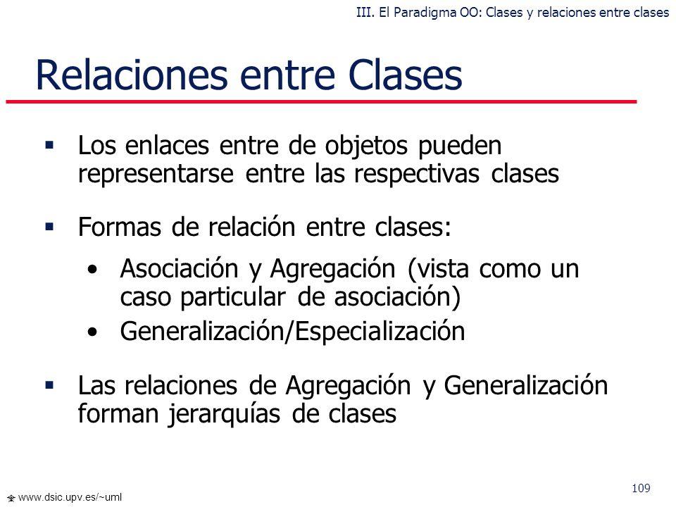 108 www.dsic.upv.es/~uml … Clases: Encapsulación Ejemplo: III. El Paradigma OO: Clases y relaciones entre clases
