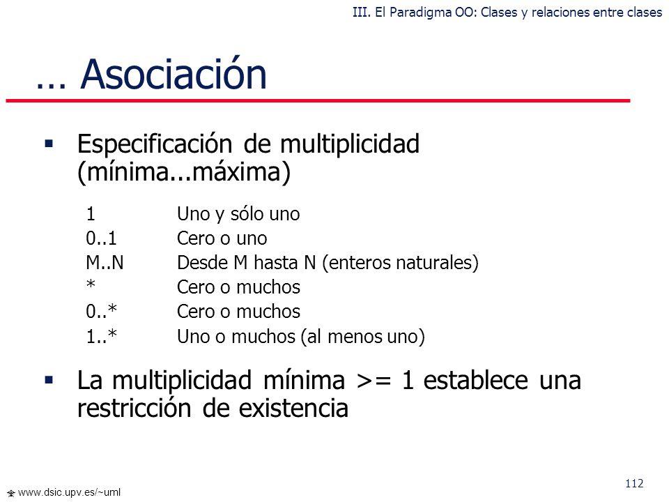 111 www.dsic.upv.es/~uml Ejemplo: … Asociación III. El Paradigma OO: Clases y relaciones entre clases