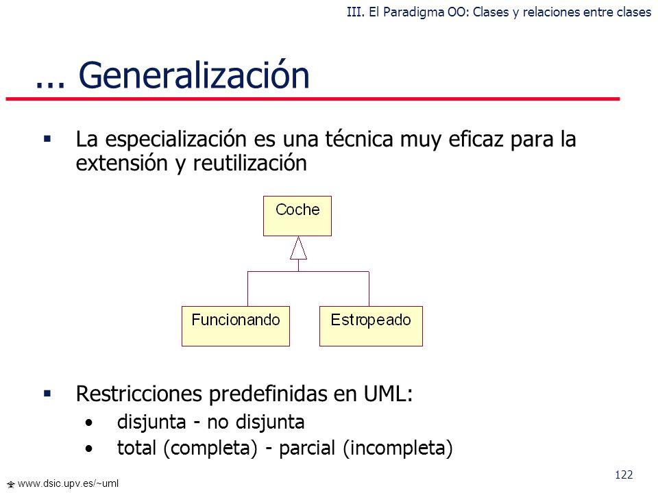 121 www.dsic.upv.es/~uml... Generalización III. El Paradigma OO: Clases y relaciones entre clases