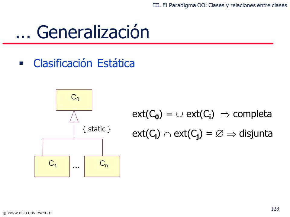 127 www.dsic.upv.es/~uml Extensión: Posibles instancias de una clase Intensión: Propiedades definidas en una clase int(A) int(B) ext(B) ext(A)... Gene