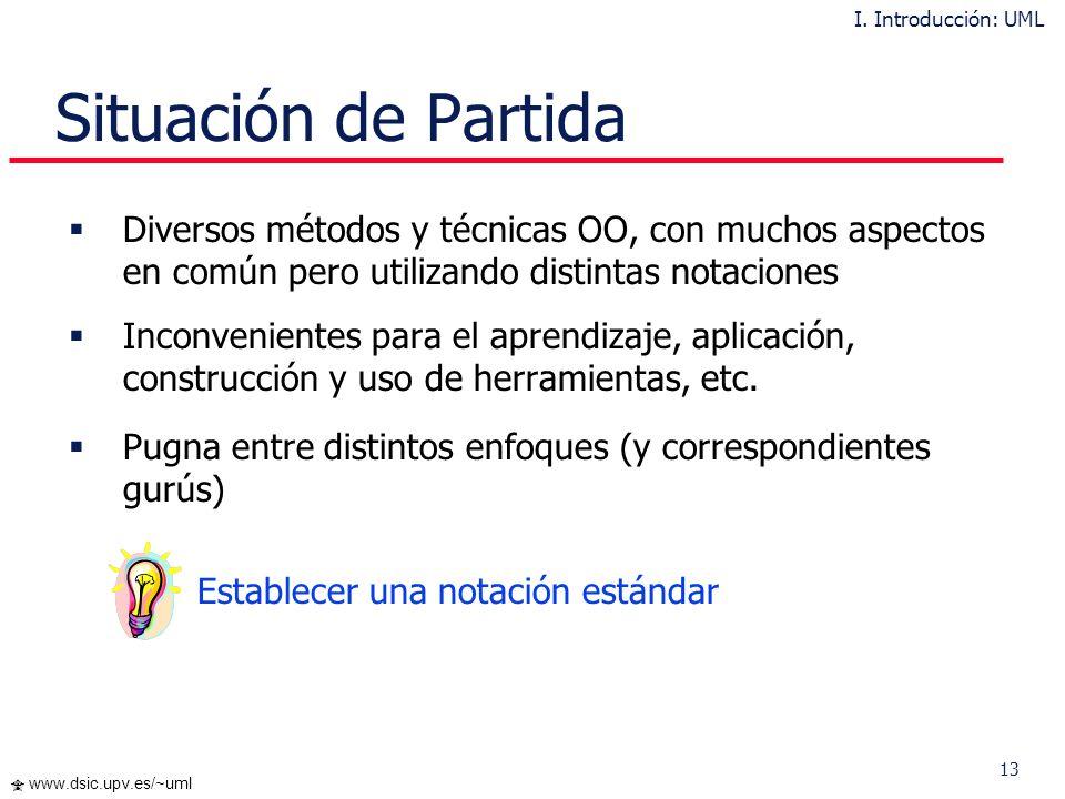 12 www.dsic.upv.es/~uml ¿Qué es UML? UML = Unified Modeling Language Un lenguaje de propósito general para el modelado orientado a objetos. Impulsado