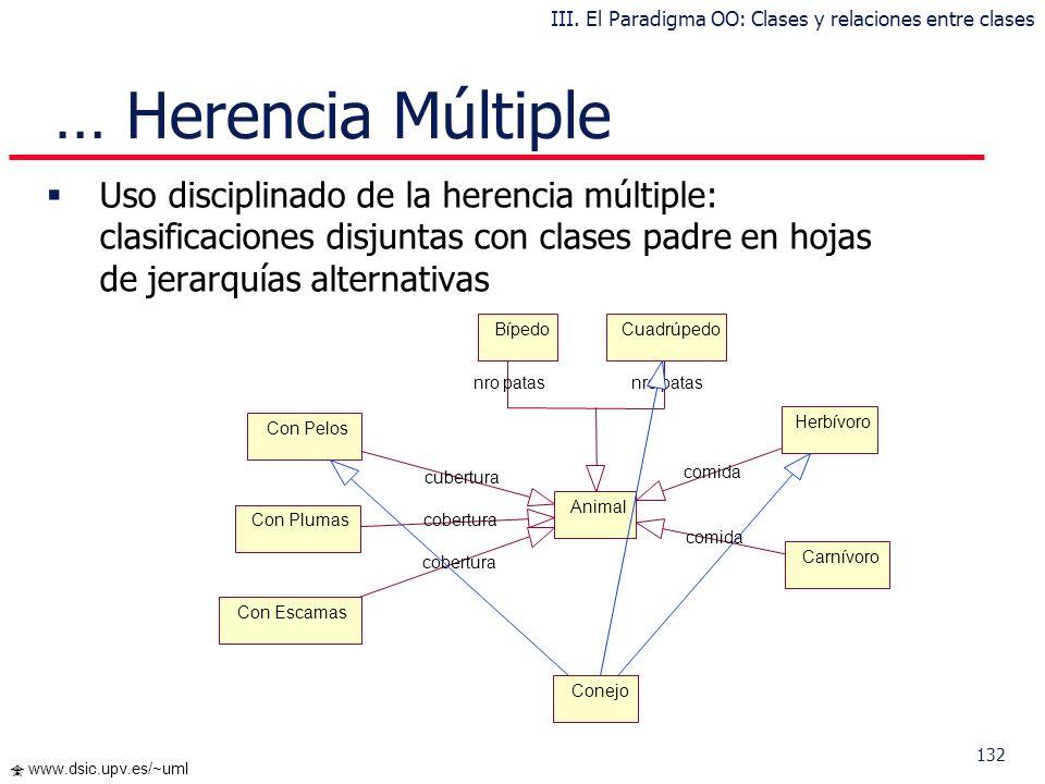 131 www.dsic.upv.es/~uml Clasificación Múltiple (herencia múltiple) Se presenta cuando una subclase tiene más de una superclase La herencia múltiple d
