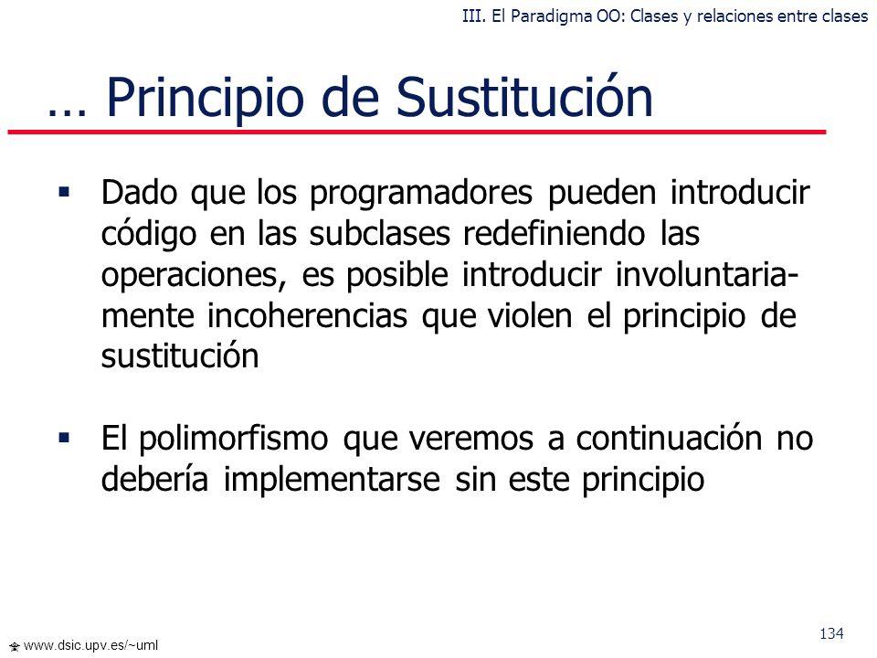 133 www.dsic.upv.es/~uml Principio de Sustitución El Principio de Sustitución de Liskow afirma que: Debe ser posible utilizar cualquier objeto instanc