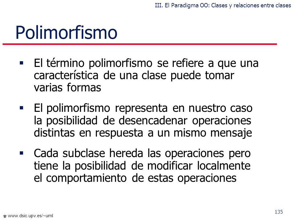 134 www.dsic.upv.es/~uml … Principio de Sustitución Dado que los programadores pueden introducir código en las subclases redefiniendo las operaciones,