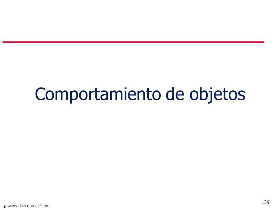 138 www.dsic.upv.es/~uml … Polimorfismo La búsqueda automática del código que en cada momento se va a ejecutar es fruto del enlace dinámico El cumplim