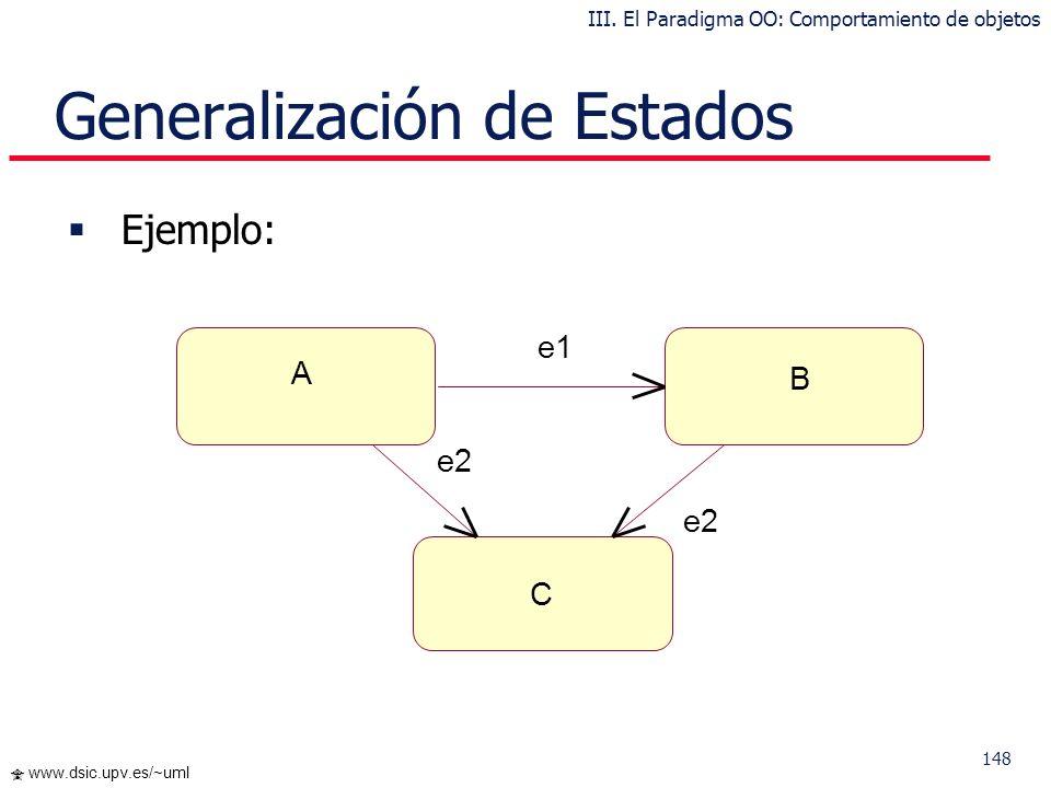 147 www.dsic.upv.es/~uml Generalización de Estados Podemos reducir la complejidad de estos diagramas usando la generalización de estados Distinguimos