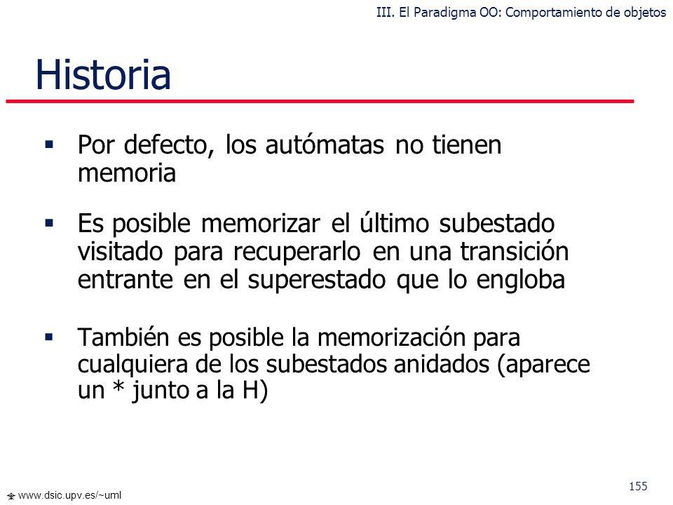 154 www.dsic.upv.es/~uml … Generalización de Estados III. El Paradigma OO: Comportamiento de objetos