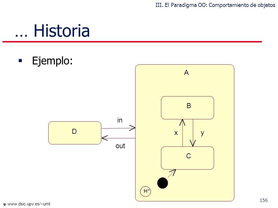 155 www.dsic.upv.es/~uml Historia Por defecto, los autómatas no tienen memoria Es posible memorizar el último subestado visitado para recuperarlo en u