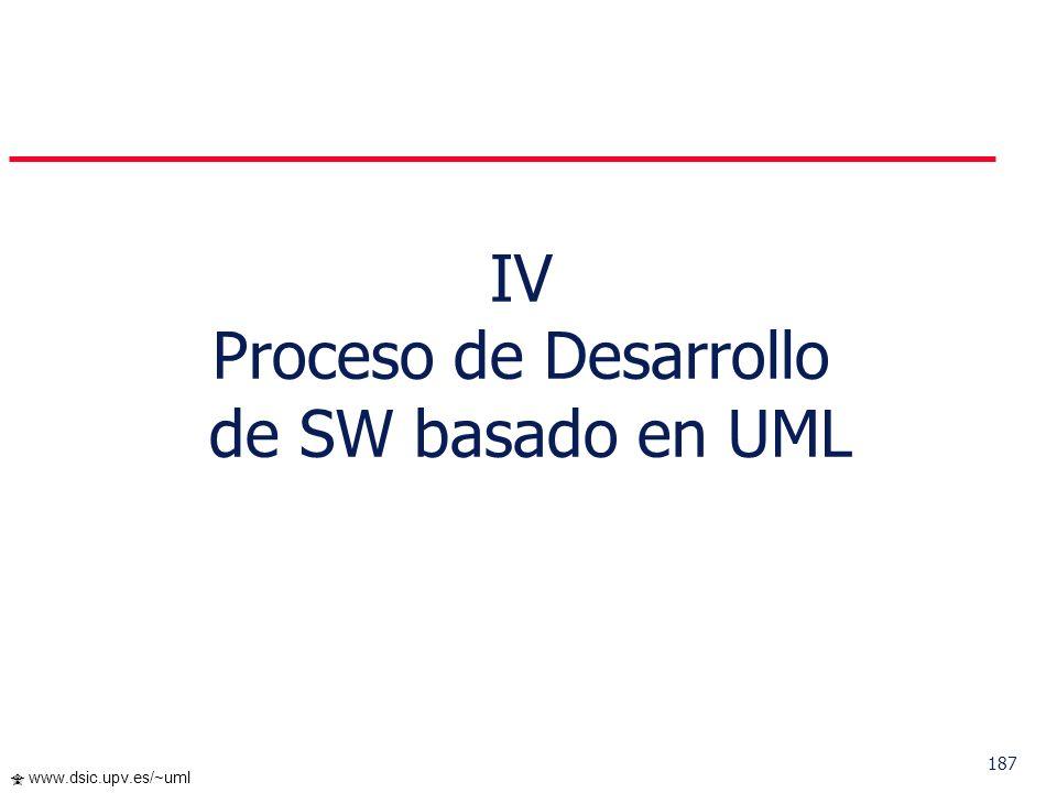 186 www.dsic.upv.es/~uml … Navegación Ejemplo a) Los casados tienen al menos 18 años de edad context Persona inv: self.esposa->notEmpty() implies self