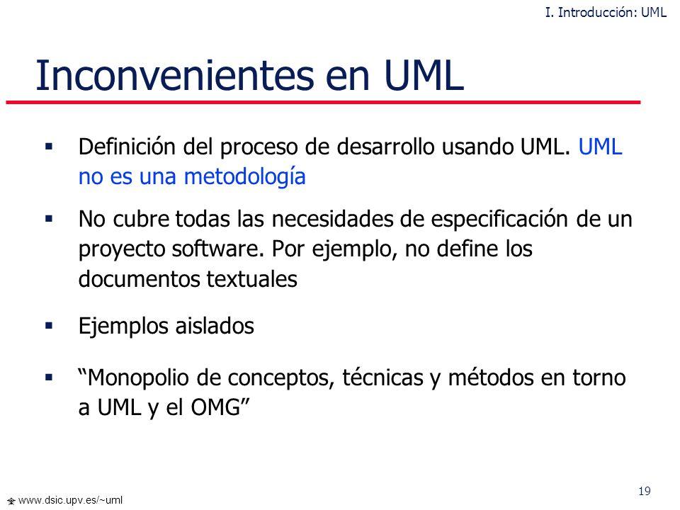 18 www.dsic.upv.es/~uml Aspectos Novedosos Definición semi-formal del Metamodelo de UML Mecanismos de Extensión en UML: Stereotypes Constraints Tagged