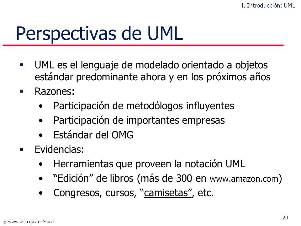 19 www.dsic.upv.es/~uml Inconvenientes en UML Definición del proceso de desarrollo usando UML. UML no es una metodología No cubre todas las necesidade