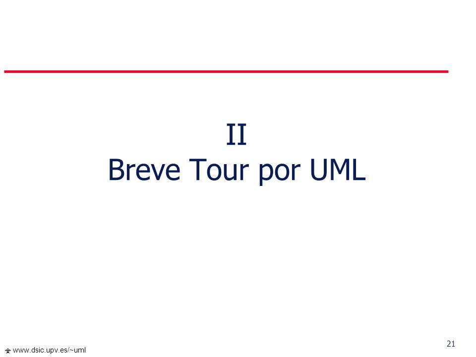 20 www.dsic.upv.es/~uml Perspectivas de UML UML es el lenguaje de modelado orientado a objetos estándar predominante ahora y en los próximos años Razo