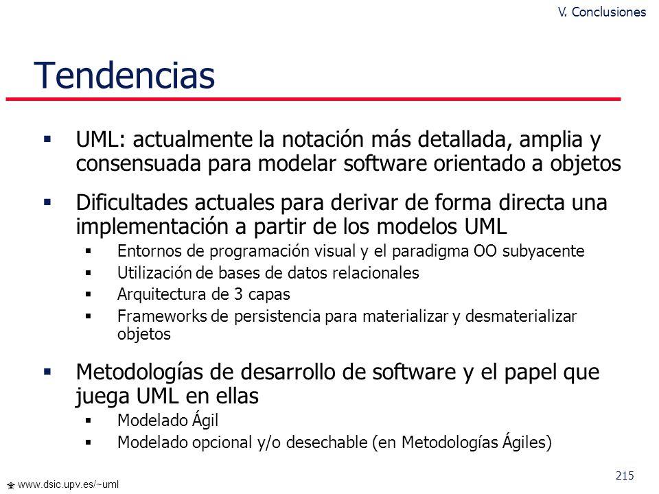 214 www.dsic.upv.es/~uml Adaptabilidad al contexto del proyecto V. Conclusiones