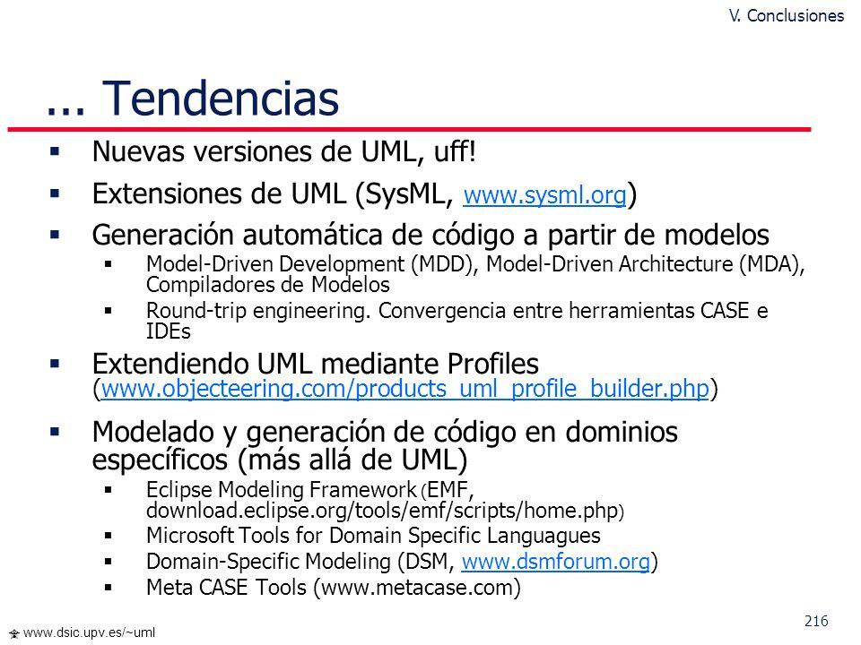 215 www.dsic.upv.es/~uml Tendencias UML: actualmente la notación más detallada, amplia y consensuada para modelar software orientado a objetos Dificul