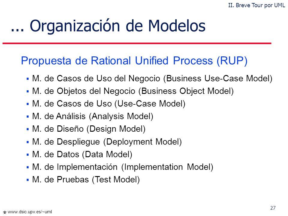 26 www.dsic.upv.es/~uml 4+1 vistas de Kruchten (1995) Vista Lógica Vista de Procesos Vista de Distribución Vista de Realización Vista de los Casos de
