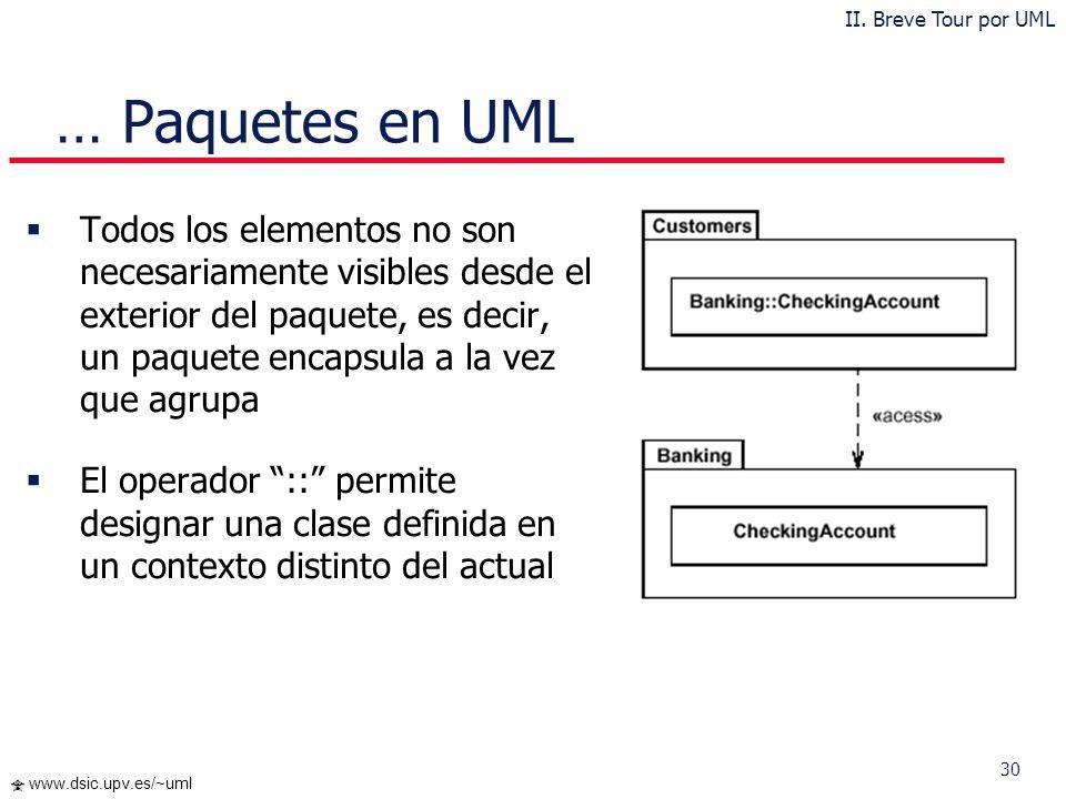 29 www.dsic.upv.es/~uml … Paquetes en UML Cada paquete corresponde a un submodelo (subsistema) del modelo (sistema) Un paquete puede contener otros pa