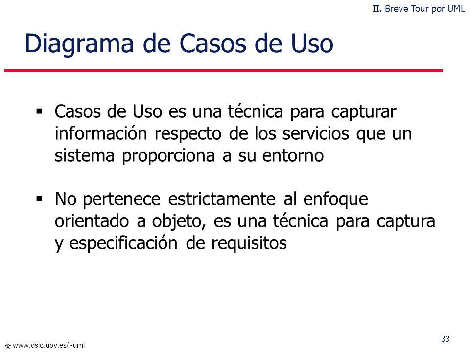 32 www.dsic.upv.es/~uml … Paquetes en UML II. Breve Tour por UML Práctica 1
