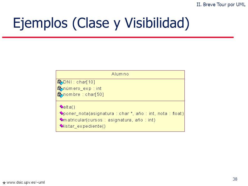 37 www.dsic.upv.es/~uml Diagrama de Clases El Diagrama de Clases es el diagrama principal para el análisis y diseño del sistema Un diagrama de clases
