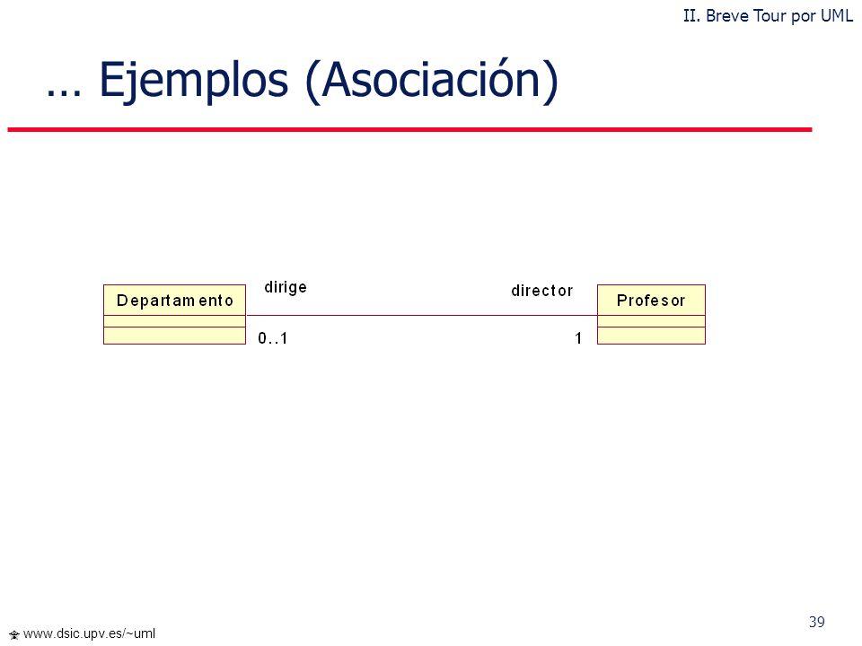 38 www.dsic.upv.es/~uml Ejemplos (Clase y Visibilidad) II. Breve Tour por UML