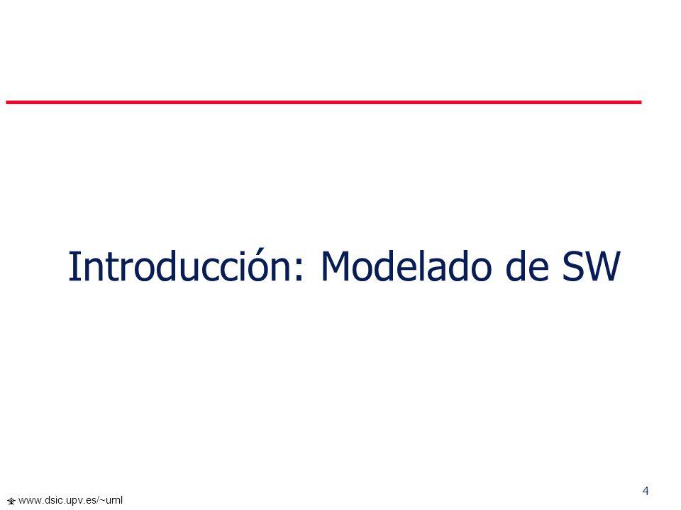 204 www.dsic.upv.es/~uml Cada iteración comprende: Planificar la iteración (estudio de riesgos) Análisis de los Casos de Uso y escenarios Diseño de opciones arquitectónicas Codificación y pruebas.