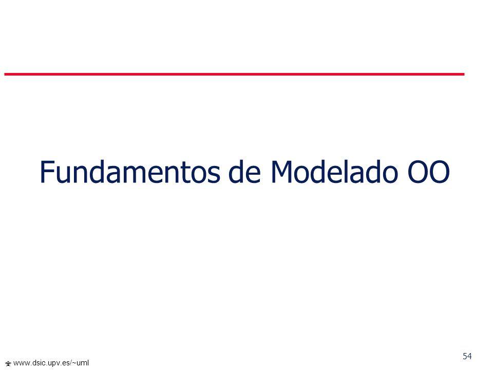 53 www.dsic.upv.es/~uml Un objeto contiene datos y operaciones que operan sobre los datos, pero... Podemos distinguir dos tipos de objetos degenerados