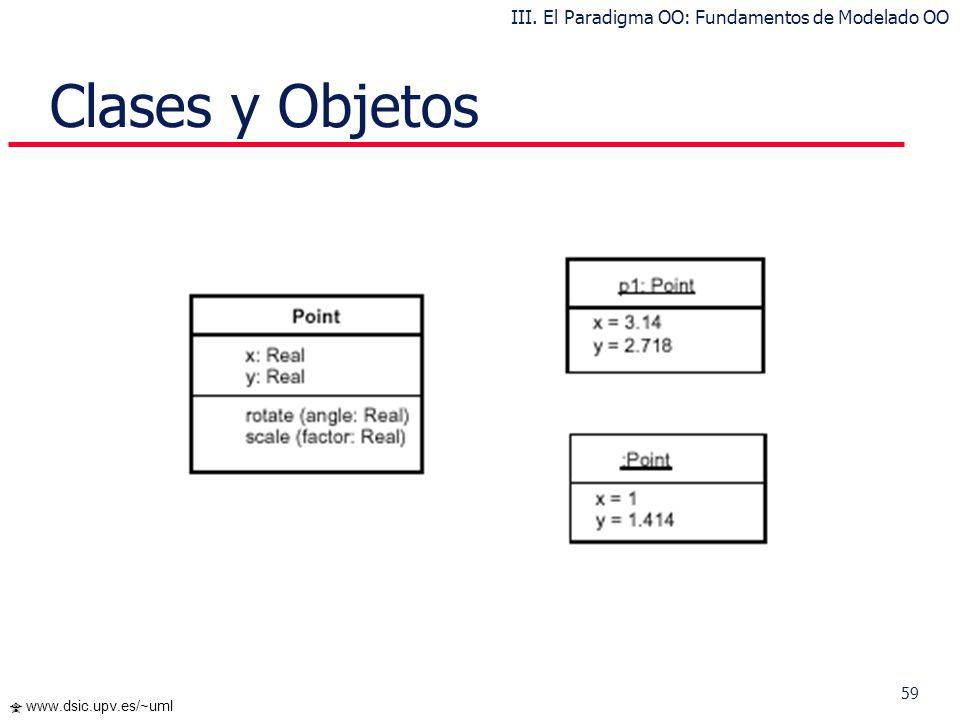 58 www.dsic.upv.es/~uml … Objetos Objeto = Identidad + Estado + Comportamiento El estado está representado por los valores de los atributos Un atribut