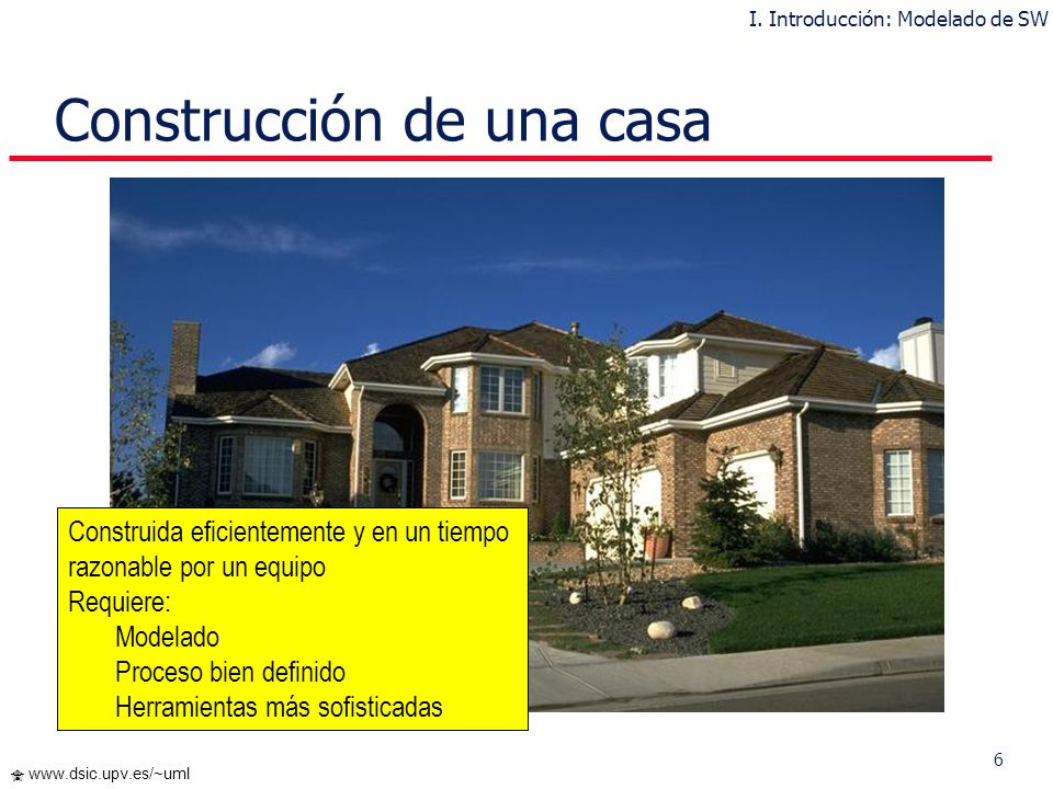 6 www.dsic.upv.es/~uml Construcción de una casa Construida eficientemente y en un tiempo razonable por un equipo Requiere: Modelado Proceso bien definido Herramientas más sofisticadas I.