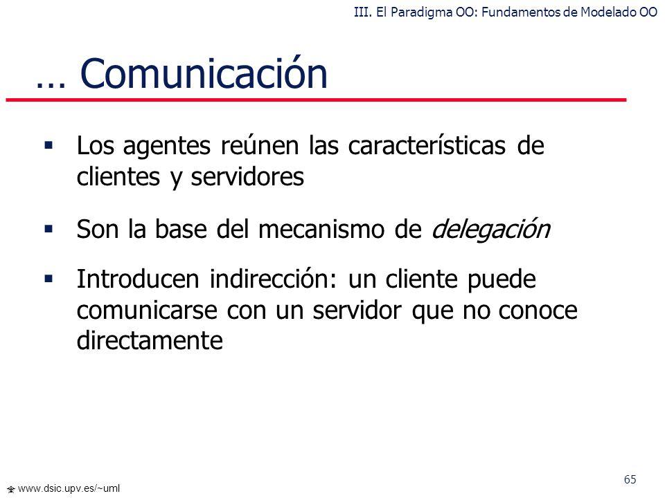64 www.dsic.upv.es/~uml … Comunicación Categorías de objetos: Activos - Pasivos Cliente – Servidores, Agentes Objeto Activo: posee un hilo de ejecució