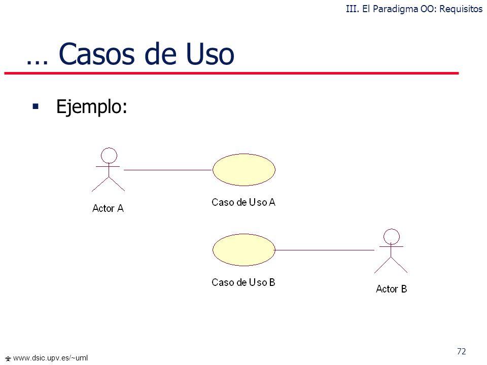 71 www.dsic.upv.es/~uml … Casos de Uso Los Casos de Uso cubren la carencia existente en métodos previos (OMT, Booch) en cuanto a la determinación de r