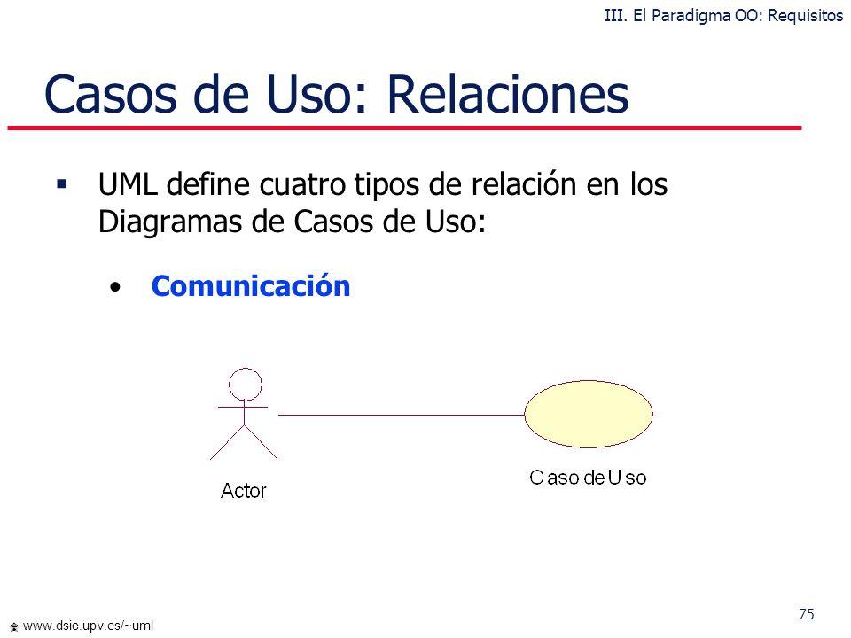 74 www.dsic.upv.es/~uml … Casos de Uso Los Casos de Uso se determinan observando y precisando, actor por actor, las secuencias de interacción, los esc