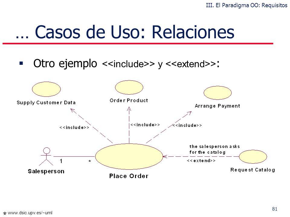 80 www.dsic.upv.es/~uml … Casos de Uso: Relaciones Ejemplo > y > : III. El Paradigma OO: Requisitos