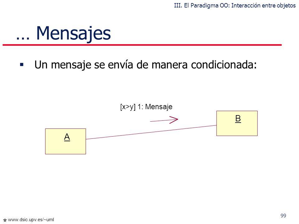 98 www.dsic.upv.es/~uml Mensajes Un mensaje desencadena una acción en el objeto destinatario Un mensaje se envía si han sido enviados los mensajes de