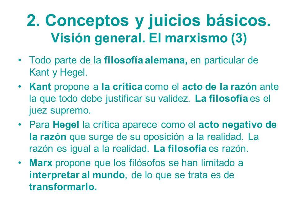 2. Conceptos y juicios básicos. Visión general. El marxismo (3) Todo parte de la filosofía alemana, en particular de Kant y Hegel. Kant propone a la c