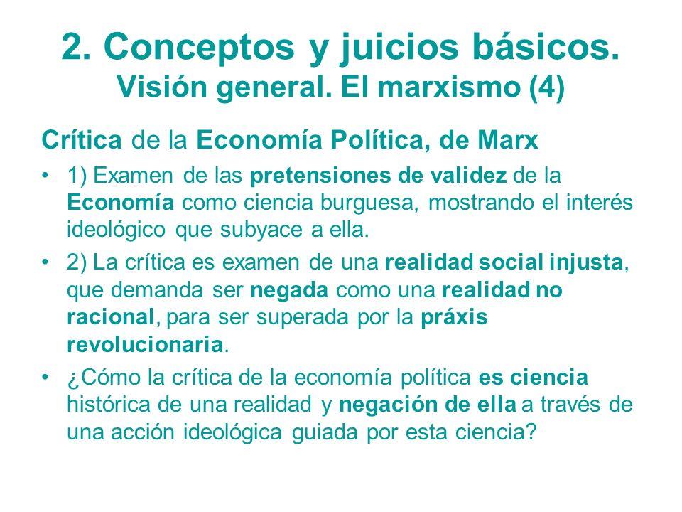 2. Conceptos y juicios básicos. Visión general. El marxismo (4) Crítica de la Economía Política, de Marx 1) Examen de las pretensiones de validez de l