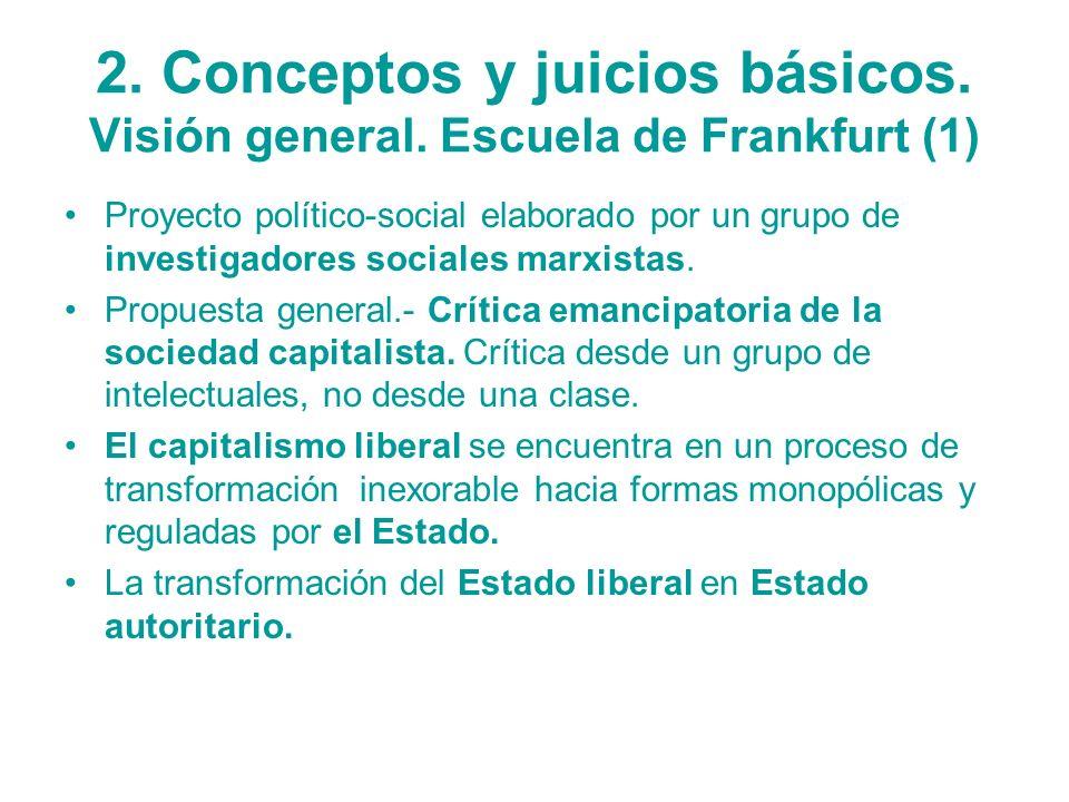 2. Conceptos y juicios básicos. Visión general. Escuela de Frankfurt (1) Proyecto político-social elaborado por un grupo de investigadores sociales ma