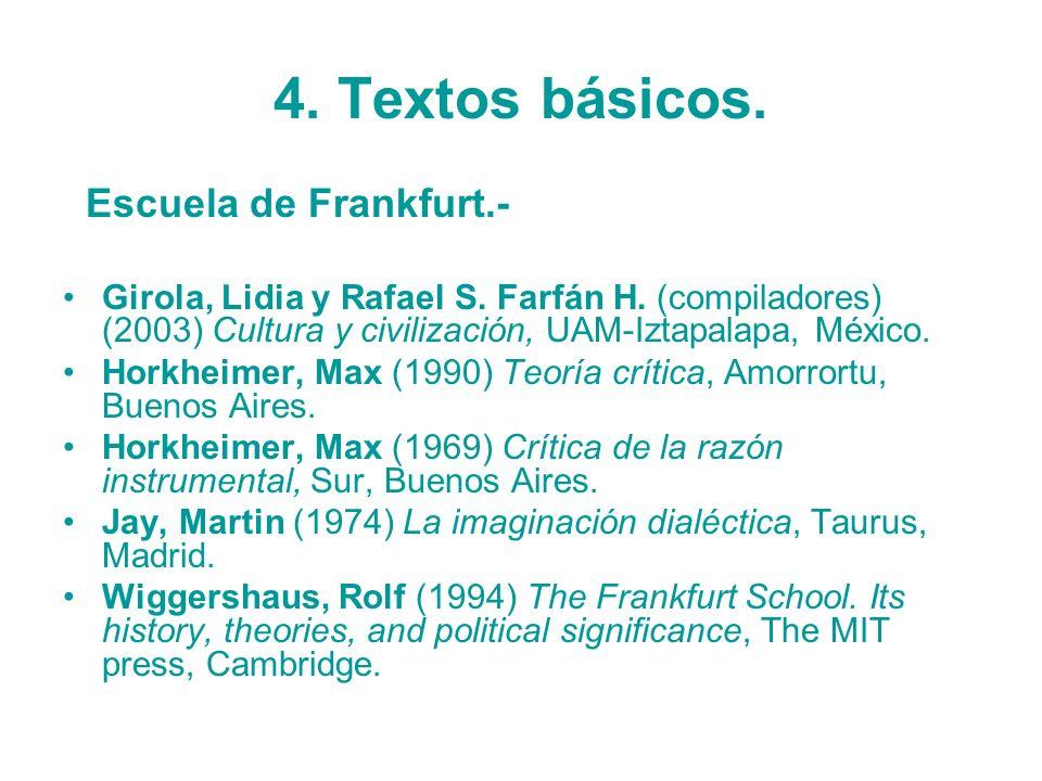 4. Textos básicos. Escuela de Frankfurt.- Girola, Lidia y Rafael S. Farfán H. (compiladores) (2003) Cultura y civilización, UAM-Iztapalapa, México. Ho